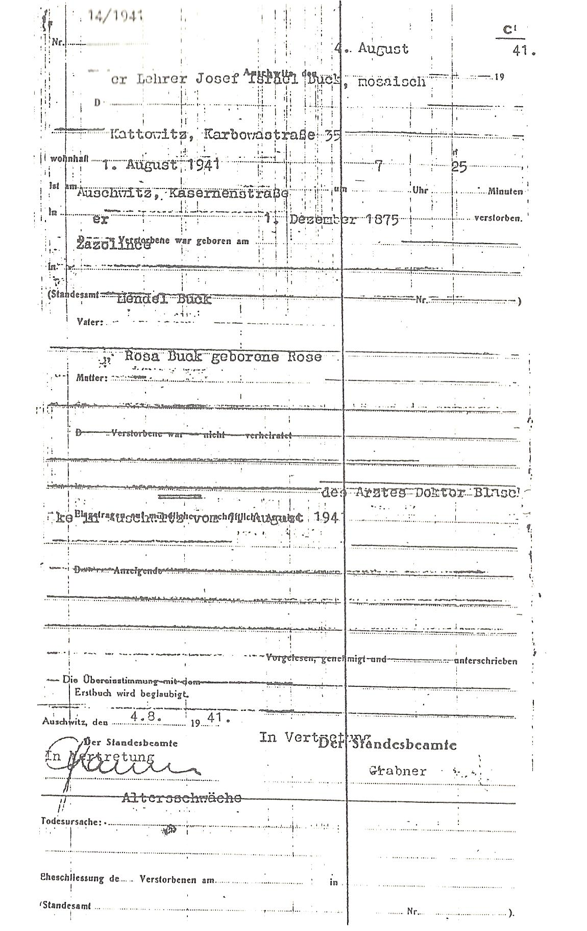 Pages from the auschwitz death registry volumes this auschwitz camp death certificate reports that prisoner josef buck a jewish teacher from kattowitz was 65 years old when he died on august 1 1941 1betcityfo Gallery