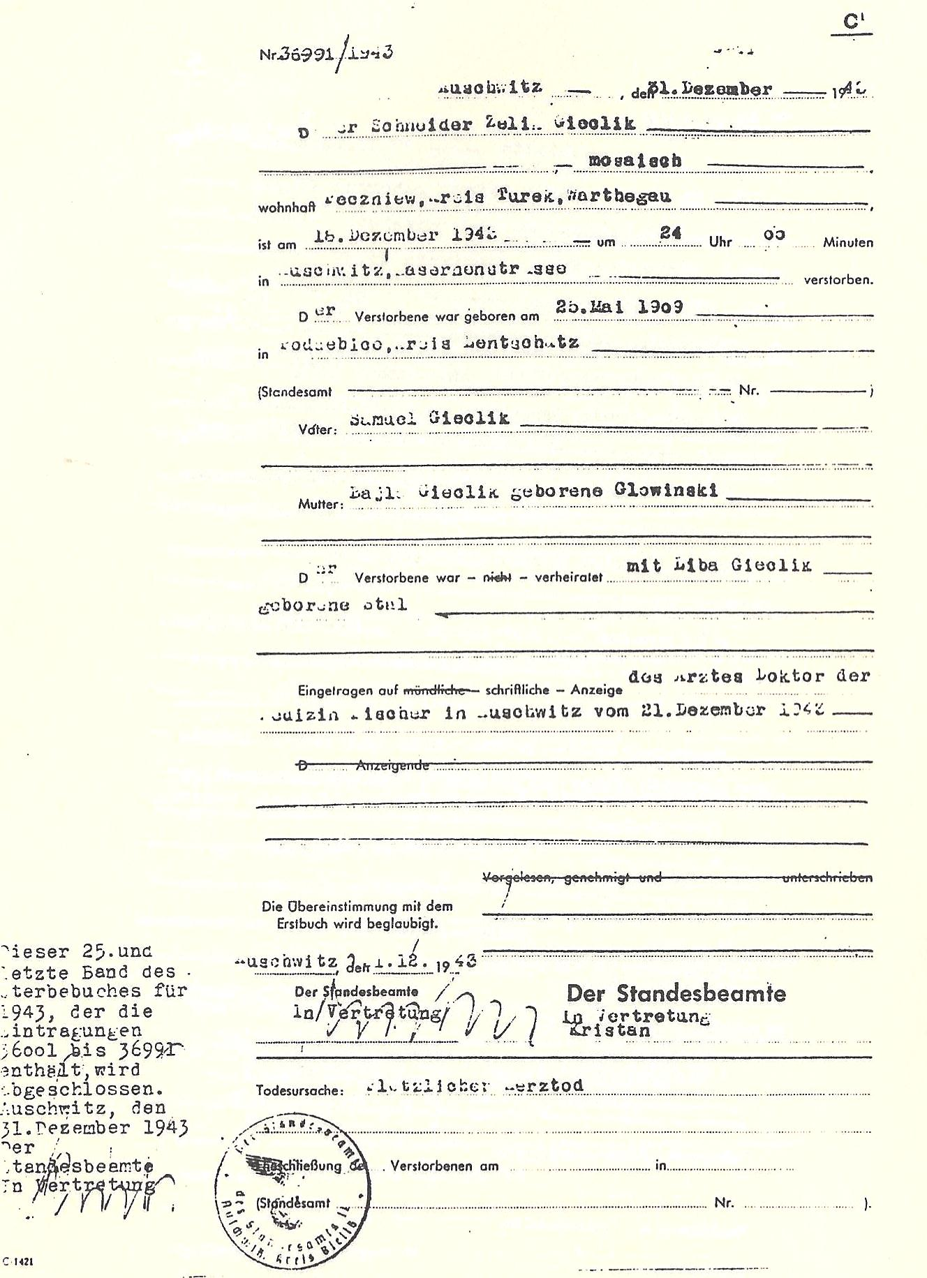 Pages from the auschwitz death registry volumes was 34 when he died on december 12 1943 camp physician dr fischer reported sudden heart failure as the cause of death this is the last certificate 1betcityfo Choice Image