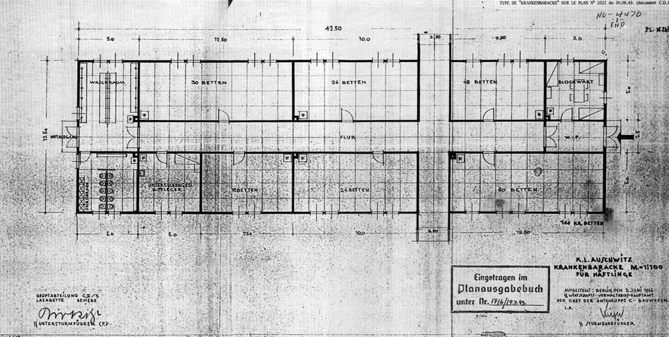high frequency delousing facilities at auschwitz architectural diagram 1943 of an auschwitz camp barracks for sick inmates the barracks has 144 beds large wash and toilet rooms and a room for